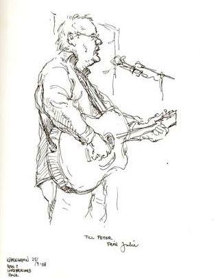 Peter blev tegnet under en optræden 25. september 2008
